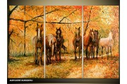 Acryl Schilderij Paard | Bruin, Oranje | 120x80cm 3Luik Handgeschilderd