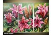 Acryl Schilderij Natuur | Paars, Groen | 120x80cm 3Luik Handgeschilderd