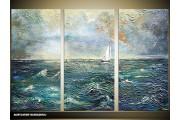 Acryl Schilderij Zee | Blauw | 120x80cm 3Luik Handgeschilderd