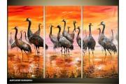 Acryl Schilderij Vogels | Oranje, Geel, Bruin | 120x80cm 3Luik Handgeschilderd