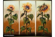 Acryl Schilderij Zonnebloem | Geel, Bruin, Groen | 120x80cm 3Luik Handgeschilderd