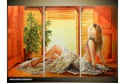 Acryl Schilderij Kunst, Sexy | Oranje, Geel, Bruin | 120x80cm 3Luik Handgeschilderd