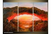 Acryl Schilderij Natuur | Rood, Bruin | 120x80cm 3Luik Handgeschilderd