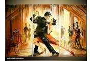 Acryl Schilderij Dansen | Bruin, Geel | 120x80cm 3Luik Handgeschilderd