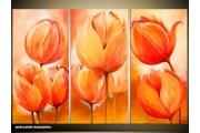 Acryl Schilderij Tulp | Oranje | 120x80cm 3Luik Handgeschilderd