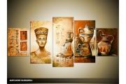 Acryl Schilderij Egypte   Bruin, Crème   150x70cm 5Luik Handgeschilderd