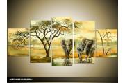 Acryl Schilderij Afrika | Geel, Groen | 150x70cm 5Luik Handgeschilderd
