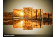 Acryl Schilderij Zonsondergang | Bruin | 150x70cm 5Luik Handgeschilderd