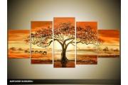 Acryl Schilderij Afrika | Bruin, Oranje | 150x70cm 5Luik Handgeschilderd