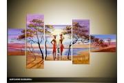 Acryl Schilderij Natuur | Paars, Blauw | 160x70cm 5Luik Handgeschilderd