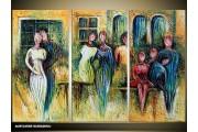 Acryl Schilderij Wandelen | Groen, Blauw | 120x80cm 3Luik Handgeschilderd