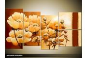 Acryl Schilderij Natuur | Crème, Bruin | 130x70cm 5Luik Handgeschilderd