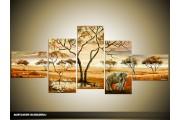 Acryl Schilderij Natuur | Bruin, Crème | 170x70cm 5Luik Handgeschilderd