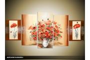Acryl Schilderij Woonkamer | Rood, Bruin, Crème | 150x70cm 5Luik Handgeschilderd