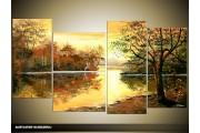 Acryl Schilderij Natuur | Bruin, Crème | 130x70cm 5Luik Handgeschilderd