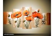 Acryl Schilderij Klaproos | Oranje, Bruin, Crème | 150x70cm 5Luik Handgeschilderd