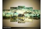 Acryl Schilderij Afrika   Groen   150x70cm 5Luik Handgeschilderd