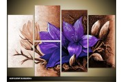Acryl Schilderij Magnolia | Paars, Bruin | 120x80cm 5Luik Handgeschilderd
