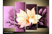 Acryl Schilderij Magnolia | Paars, Geel | 120x80cm 5Luik Handgeschilderd