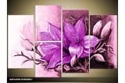 Acryl Schilderij Magnolia | Paars, Roze | 120x80cm 5Luik Handgeschilderd