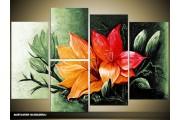 Acryl Schilderij Magnolia | Groen, Rood | 120x80cm 5Luik Handgeschilderd