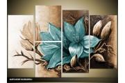 Acryl Schilderij Magnolia | Bruin, Turquoise | 120x80cm 5Luik Handgeschilderd