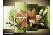 Acryl Schilderij Magnolia | Bruin, Groen | 120x80cm 5Luik Handgeschilderd