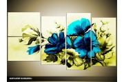 Acryl Schilderij Bloemen   Blauw, Groen   130x70cm 5Luik Handgeschilderd