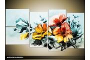 Acryl Schilderij Bloemen | Blauw, Geel | 130x70cm 5Luik Handgeschilderd