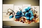 Acryl Schilderij Bloemen | Blauw, Bruin | 130x70cm 5Luik Handgeschilderd