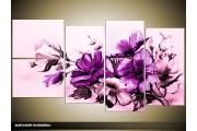 Acryl Schilderij Bloemen   Paars   130x70cm 5Luik Handgeschilderd