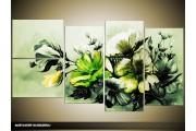 Acryl Schilderij Bloemen | Groen | 130x70cm 5Luik Handgeschilderd