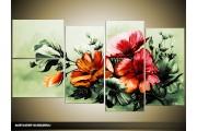 Acryl Schilderij Bloemen | Groen, Rood | 130x70cm 5Luik Handgeschilderd