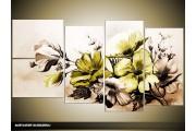 Acryl Schilderij Bloemen | Groen, Bruin | 130x70cm 5Luik Handgeschilderd