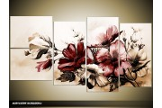 Acryl Schilderij Bloemen | Bruin | 130x70cm 5Luik Handgeschilderd