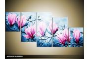 Acryl Schilderij Magnolia   Blauw, Roze   150x70cm 5Luik Handgeschilderd