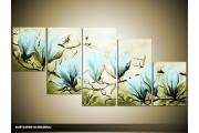 Acryl Schilderij Magnolia | Blauw, Groen | 150x70cm 5Luik Handgeschilderd