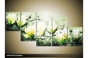 Acryl Schilderij Magnolia | Groen, Geel | 150x70cm 5Luik Handgeschilderd