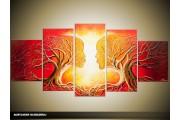 Acryl Schilderij Modern | Oranje, Rood, Geel | 150x70cm 5Luik Handgeschilderd