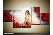 Acryl Schilderij11| Rood, Grijs | 150x70cm 5Luik Handgeschilderd