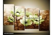 Acryl Schilderij Woonkamer | Groen, Bruin | 130x70cm 5Luik Handgeschilderd