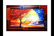OP VOORRAAD Acrylverf schilderij houten lijst - meegeschilderd   Boom   118x78cm  