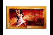 OP VOORRAAD Acrylverf schilderij houten lijst - meegeschilderd | Dansen | 118x78cm |