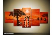 Acryl Schilderij Afrika | Rood, Bruin | 150x70cm 5Luik Handgeschilderd