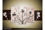 Acryl Schilderij Magnolia | Crème, Bruin | 150x70cm 5Luik Handgeschilderd