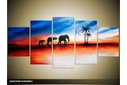 Acryl Schilderij Olifant | Rood, Oranje, Blauw | 150x70cm 5Luik Handgeschilderd