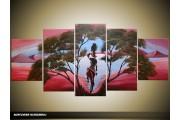 Acryl Schilderij Natuur | Paars, Blauw | 150x70cm 5Luik Handgeschilderd