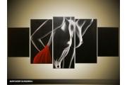 Acryl Schilderij Kunst, Sexy | Zwart, Rood | 150x70cm 5Luik Handgeschilderd