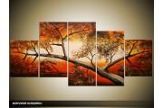 Acryl Schilderij Natuur | Oranje, Bruin, Crème | 150x70cm 5Luik Handgeschilderd