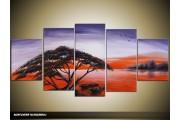 Acryl Schilderij Natuur | Rood, Paars, Zwart | 150x70cm 5Luik Handgeschilderd